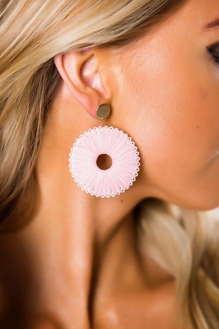 Rose Straw Earrings