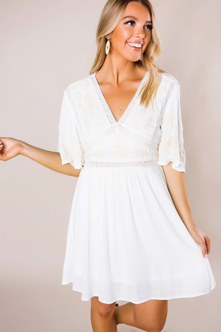 Ivory/Beige Embroidered Dress