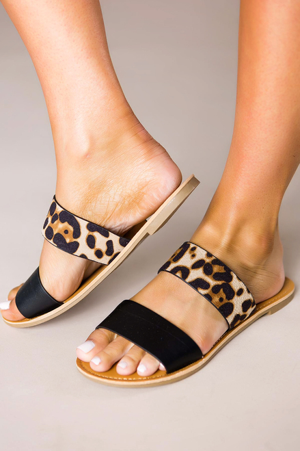 Black/Leopard Strappy Sandals