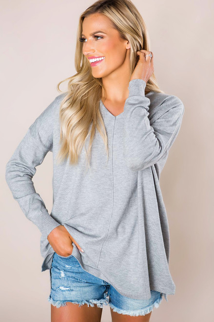 Grey Soft V Sweater
