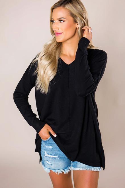 Black Soft V Sweater