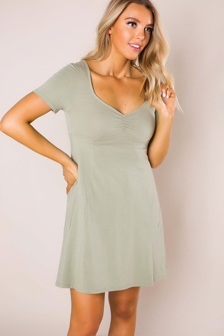 Sage Ruched Flared Dress
