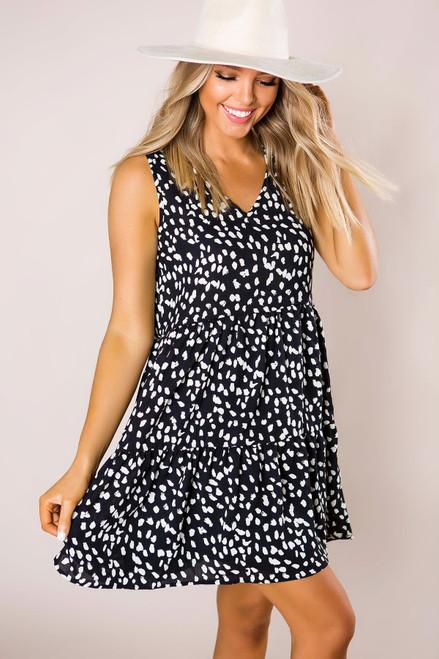Black Printed Babydoll Dress - Final Sale