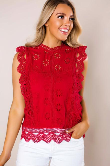 Burgundy Eyelet Crochet Top