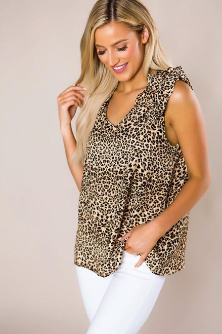 Leopard Ruffle Sleeve Tank