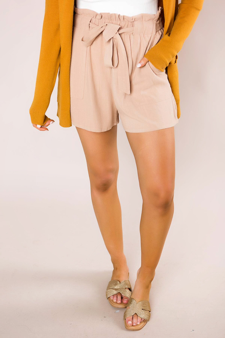 Tan Belted Shorts
