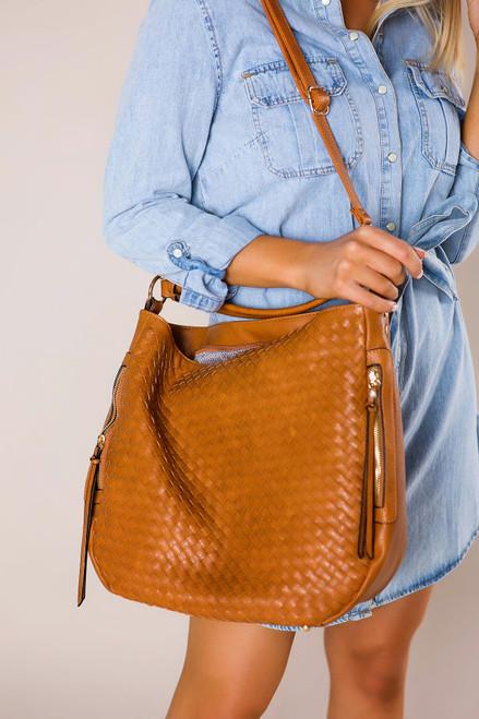 Tan Woven Over-Sized Bag