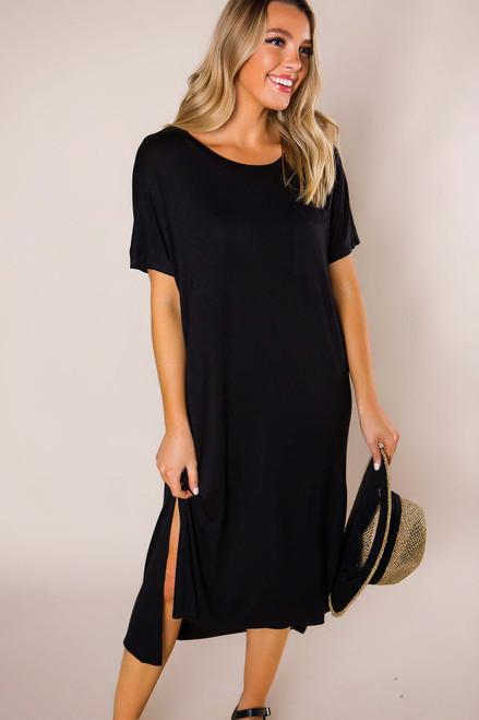 Black Long Pocket Dress
