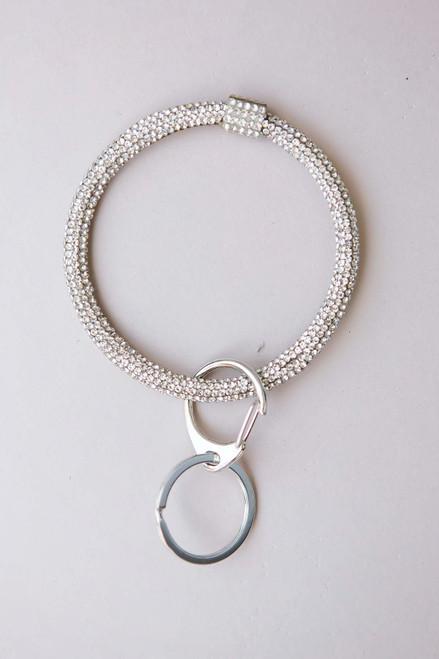 Silver Rhinestone Key Ring