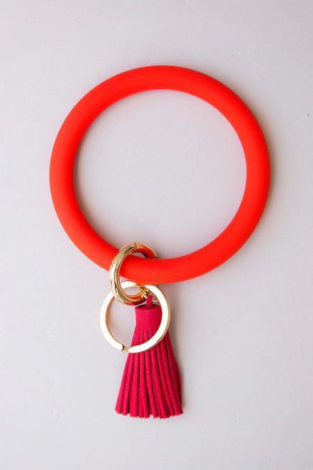 Red Key Ring Bracelet