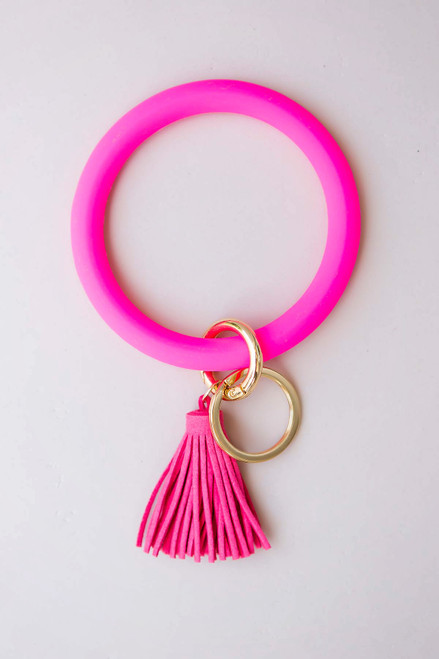 Hot Pink Key Ring Bracelet
