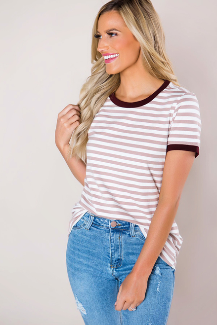 Mauve Striped Crew Neck Tee- Final Sale