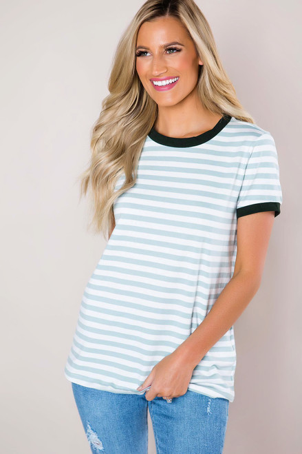 Mint Striped Crew Neck Tee- Final Sale