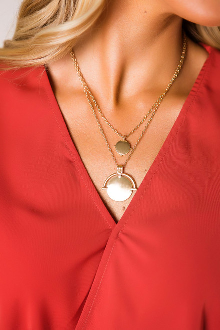 Gold Double Circle Layered Necklace