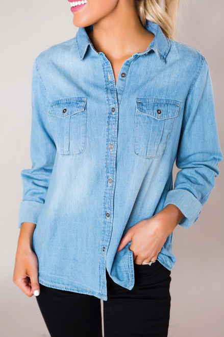 Chambray Button-Down Top