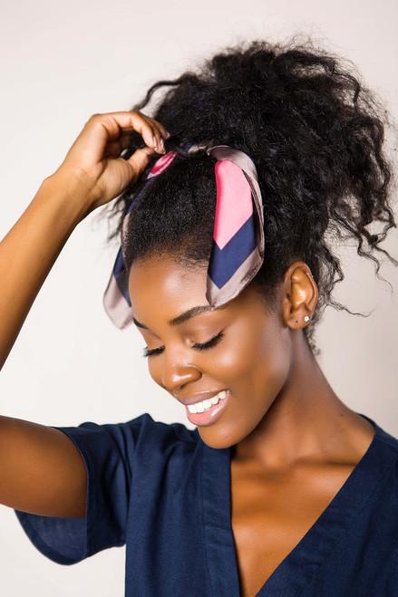 Navy Striped Hair Scarf