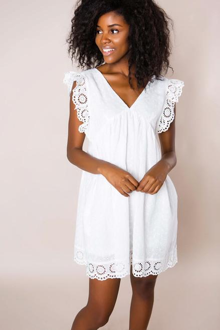 Ivory Eyelet Lace Babydoll Dress