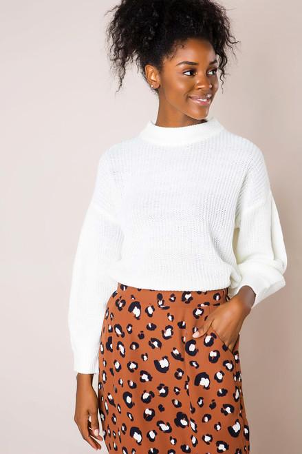 Cream High Neck Sweater