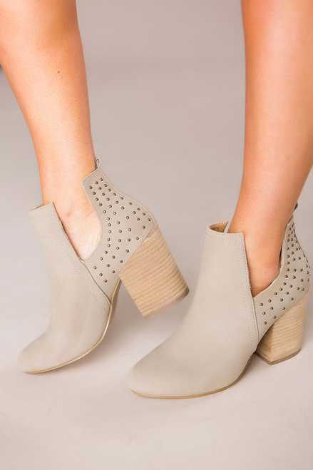 Beige Studded Back Booties