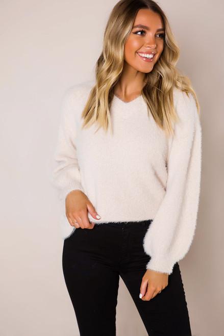 Beige Fuzzy V Sweater