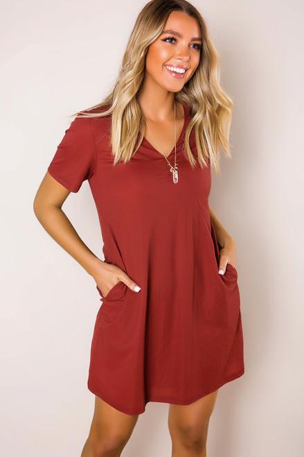 Marsala Pocket Shift Dress