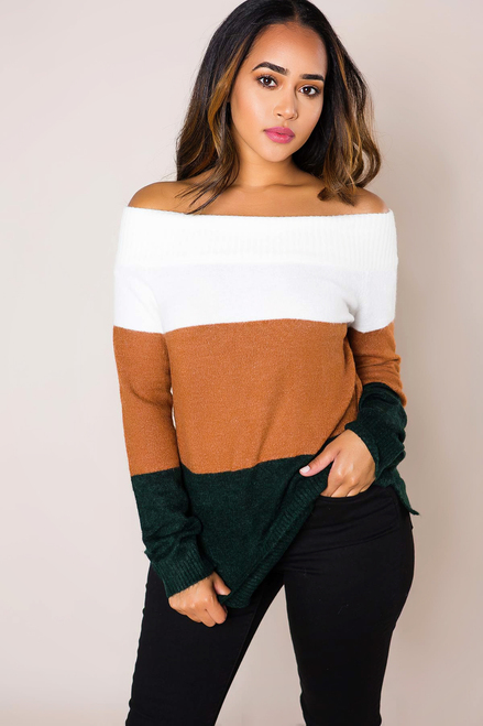 Ivory/Camel/Hunter Color Block Sweater