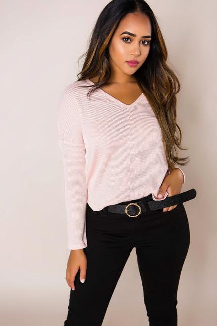 Pink Ribbed Long Sleeve