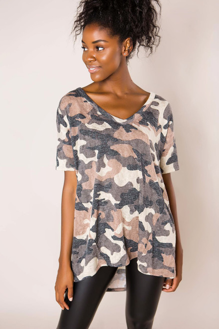 Charcoal Camo Knit Top