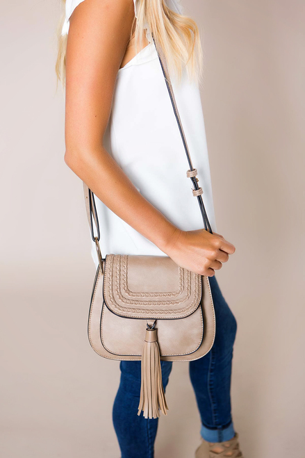 Taupe Tassel/Braided Purse