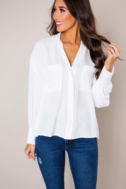 Ivory Textured Button Down Blouse