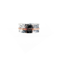 Unity... Textured Sterling and Copper Spinner Ring