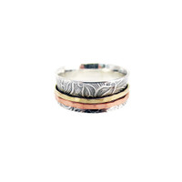 Duality... Textured Sterling, Copper and Brass Two-Spinner Ring