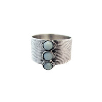 Amazonite Three-Bead Textured Sterling Ring