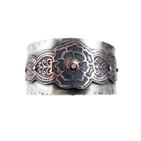 Sterling and Etched Copper Mendhi Design Unisex Cuff Bracelet