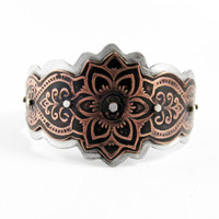 Sterling and Etched Copper Mendhi Design Cuff Bracelet