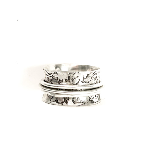 Trinity... Textured Sterling Three-Spinner Ring