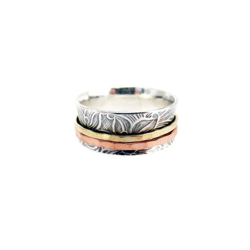 Textured Sterling, Copper and Brass Two-Spinner Ring