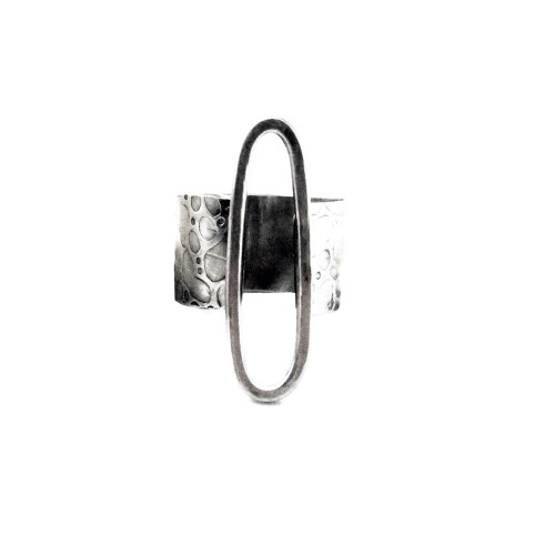 """Textured Sterling """"Stay Open"""" Ring"""