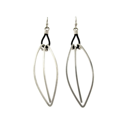 Sterling and Leather Delicate Leaf Earrings