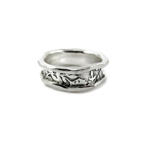 Flowers and Leaves Textured Sterling Rails and Channel Ring