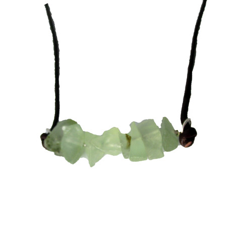 Raw Prehnite and Leather Necklace