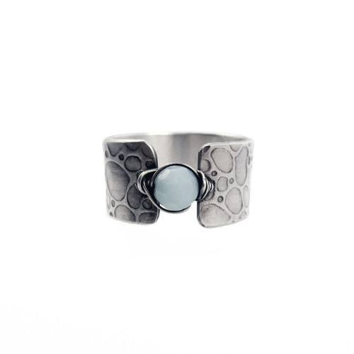 Amazonite Bead Textured Sterling Ring