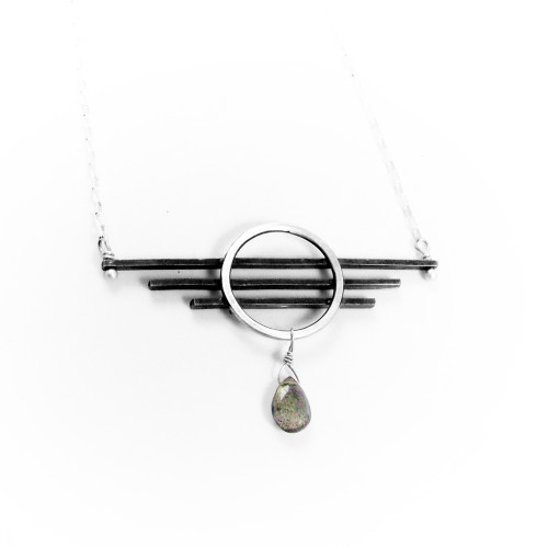 Sterling Integration Necklace With Labradorite Dangle