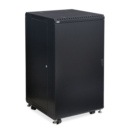 """22U Server Cabinet With Solid Front & Rear Vented Doors - 24"""" Depth"""
