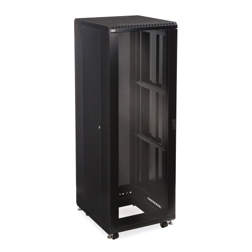 """37U Server Cabinet With Front Glass and Solid Rear Doors - 24"""" Depth"""