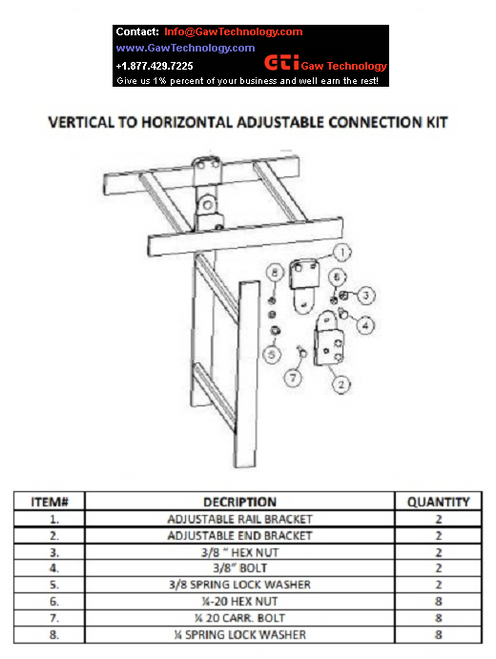 Vertical to Horizontal Connection Kit