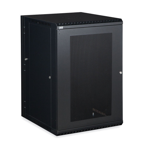 18U LINIER Swing-Out Wall Mount Cabinet With Perforated - Vented Door