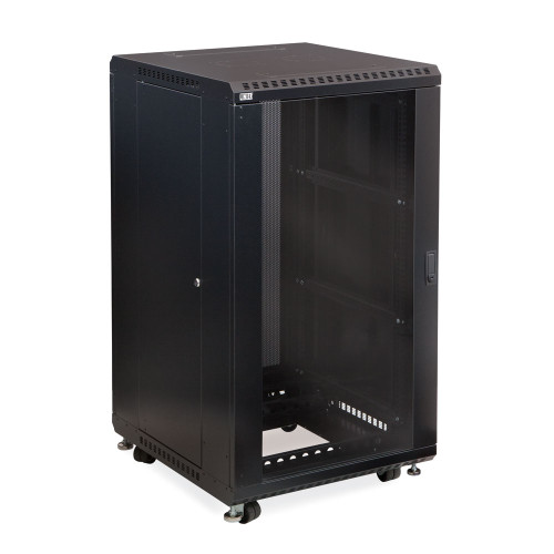 "22U Server Cabinet with Front Glass and Rear Vented Doors - 24"" Depth"