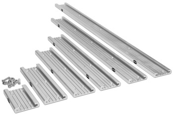 The foundation of the Traxstech system is an anodized aluminum mounting track with a grooved interior design.