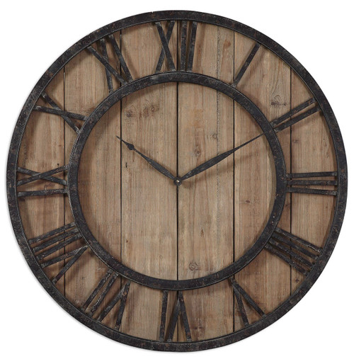Aged Wood Wall Clock
